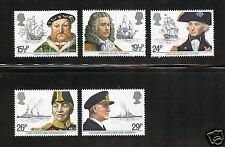 Great Britain Complete MNH Set #991-995 British Naval Figures Stamps