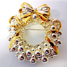 Holly Tree Ornamen Wreath Pin Brooch 00004000 Vtg Signed Best Silver Gold Plate Christmas