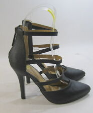 """new ladies Black 4""""High Stiletto Heel Pointy Toe Ankle Straps Sexy Shoes Size 6"""