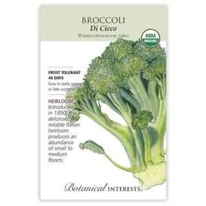 NEW Botanical Interests Di Cicco Broccoli Organic Heirloom Seeds - 2021 Stock