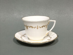 """Royal Worcester """" Gold Chantilly """" Coffee Cup & Saucer"""