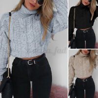 UK Winter Womens Long Sleeve Sweater Short Knitted Casual Jumper Pullover Tops