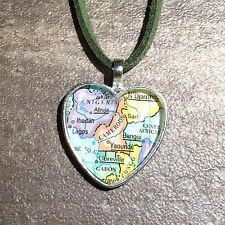 IBADAN NIGERIA YAOUNDE CAMEROON AFRICA Map Pendant necklace heart ATLAS