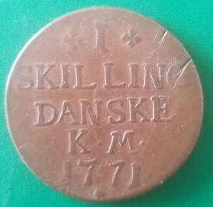 1771 Skilling Denmark One Skilling Coin