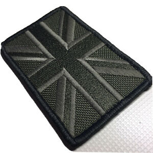 Subdued Union Jack Flag Patch hook And loop Embroidered 8 cm X 5 cm Army Police