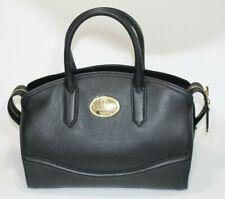 Roberto Cavalli Black Leather Large Shoulder Bag Gold Logo Hardware Handle Chain