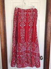 Womens Liz & Me Skirt Plus Size 2X 22W 24W Long Red Bandana Modest Boho Maxi EUC