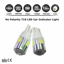 2X T10 W5W 4SMD 5730 CREE LED 501 Wedge Side light AC12V-24V Bright White 500LM