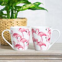Set of 4 Pink Flamingo Barrel Mugs White Fine Porcelain 13oz Tea Coffee Cups