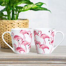 Set of 2 Pink Flamingo Barrel Mugs White Fine Porcelain 13oz Tea Coffee Cups