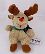 """Aurora Knit Reindeer Deer Plush Bean 5.5"""" to top of head"""