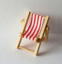 Deko Mini Liegestuhl 5 x 3,5 cm rot weiß Urlaub Ferien Holiday Klappstuhl Reise