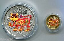 China 2010 Tiger Colored Gold and Silver Coins Set