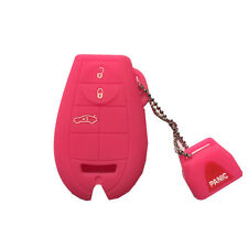 Hot Pink 4 Buttons Silicone Remote Key Case Cover Chain fit for Dodge Chrysler