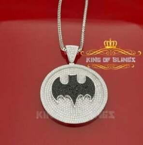 10K White Gold Finish Batman Silver Pendant w/Lab Created diamond Black n White