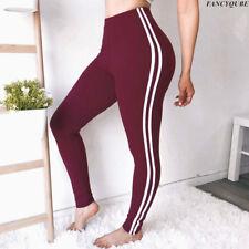 US Woman Side Striped Harem Pants Sport Legging Long Run Elastic Waist Trousers