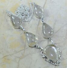 """Natural Rutilated Quartz 100% Pure 925 Sterling Silver Necklace 19"""" #A85233"""