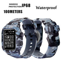 42mm 44mm Camouflage Waterproof Case For Apple Watch Series 4 3 2 Silicone Band