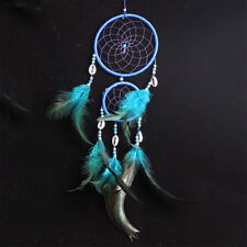 Handmade Dream Catcher Net Feather Decoration Decor Ornament Blue Craft