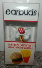 EARBUDS YUMMY YUMMY Cheeseburger French Fries 3.5 MM Ear Phones Buds Vibe NEW