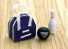 Miniature Dollhouse Bowling Ball Bag & Pin 1:12 Scale New