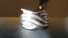 Vintage 10 k white gold and genuine diamonds band  ring. 7