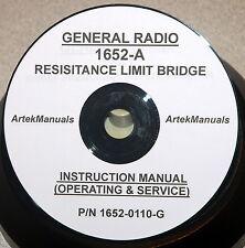 General Radio 1652 A Resistance Limit Bridge Instruction Ops Srv Manual