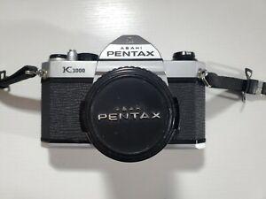 PENTAX K1000 35mm SLR Film Camera with 50 mm lens Kit + strap & leather case