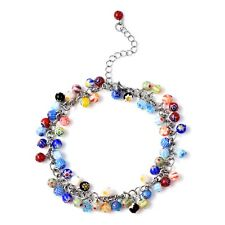 """Gift For Her 9"""" Ct 75s. Millefiori Glass Anklet Feet Jewelry Mothers Day"""