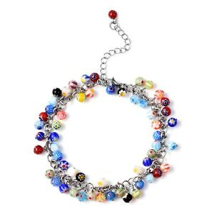 """Millefiori Glass Stainless Steel Anklet Women Jewelry For Gift 9"""" Ct 75s."""