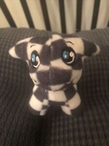 "McDonald's Neopets 3"" Checkered Poogle Plush Stuffed Toy No Tags Keychain Broken"