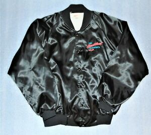 Vintage Chevrolet Heartbeat of America Neon Pink/Black Satin Jacket Size XL