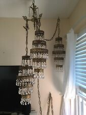 Vintage Hollywood Regency 3 Lamp Swag Lace Crystal Chandelier