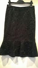 "Per Una black embroidery anglaise fishtail pencil skirt UK 8 Eur 34 27"" long"