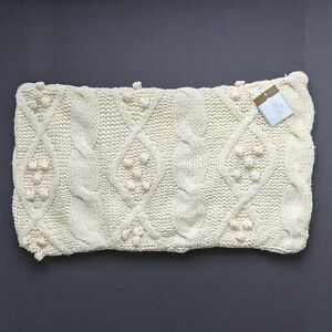 """NWT Pottery Barn Bobble Knit Pillow Cover 16"""" x 26"""" Cozy Off-white Cable Knit"""