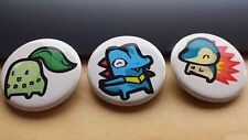 "Pokemon Chikorita Totodile Cyndaquil Pin / Button 1-1/4"" New Unused Handmade"