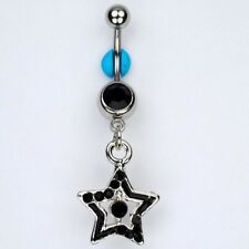 Star Jet BLACK Dangle Belly Button Navel Ring Bar Piercing Jewelry (C19)