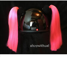 Custom Made Pink or Yellow Helmet Pigtails ~Motorcycle Skate Bike ~25% More Hair