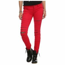 24fdc5cdae5ad Hot Topic Royal Bones By Tripp Ripped Fishnet Red Pants Jeans
