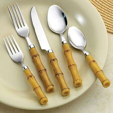 26Pc Service for 4 Bamboo Look Flatware Set  Incl Bonus Steak Knives Salad Set