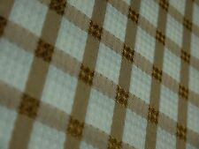 NEW POLYESTER TARA WHITE & BRONZE COUNTRY CHECK TABLECLOTH 150  X 230 CM OBLONG
