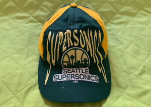 SEATTLE SUPERSONICS  Vtg Snapback Yellow/Green Embroidered Cap Hat 1 Sz Fits All