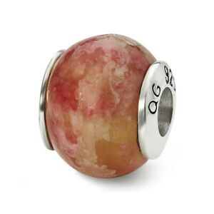 Pink Serpentine Bead .925 Sterling Silver Antique Finish Reflection Beads