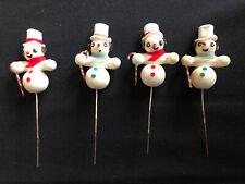 Vintage Snowman Floral Picks Collection, Japan, Handmade