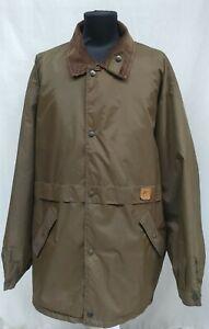 K.WAY Lined Nylon Rain Coat Rare Olive Green Corduroy Collar Jacket Size XXL 2XL