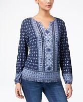 Style & Co Petite Mixed-Print Split Neck Top Size PXL
