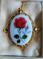 Vintage Red Rose Cameo Necklace Pendant Brooch Pin Beautiful NOS