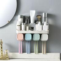 Wall Mount Bathroom Storage Rack Toothpaste Dispenser Toothbrush Holder No Drill