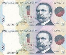 ARGENTINE FEUILLE DE 2 BILLETS de 1 PESO Non Coupé C PELLIGRINI 1993  P339  NEUF