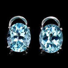 Oval Sky Blue Topaz 11x9mm 14K White Gold Plate 925 Sterling Silver Earrings
